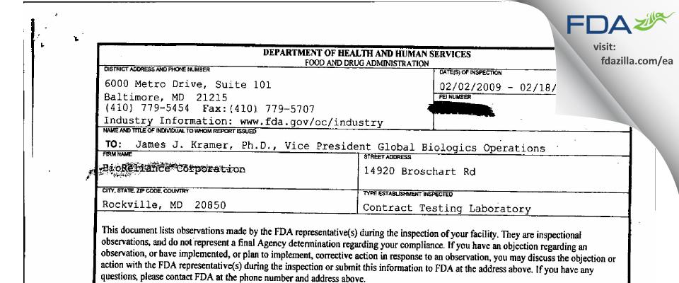 BioReliance FDA inspection 483 Feb 2009