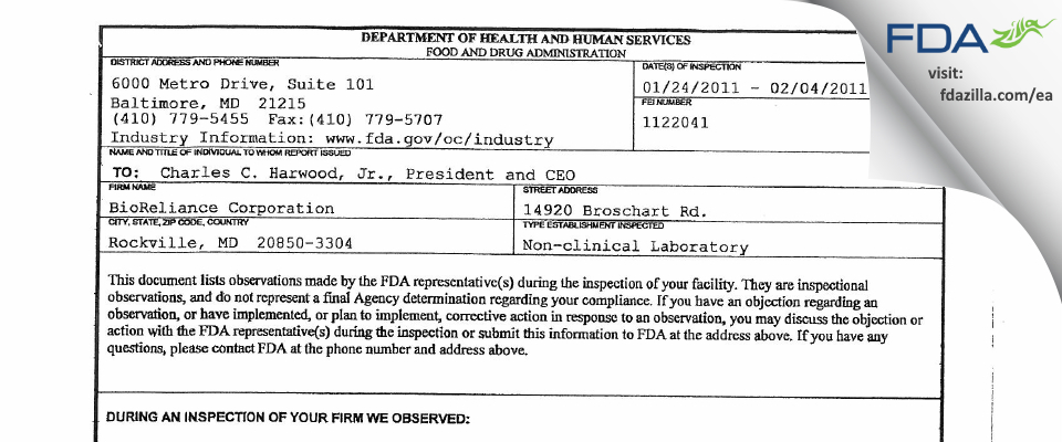 BioReliance FDA inspection 483 Feb 2011