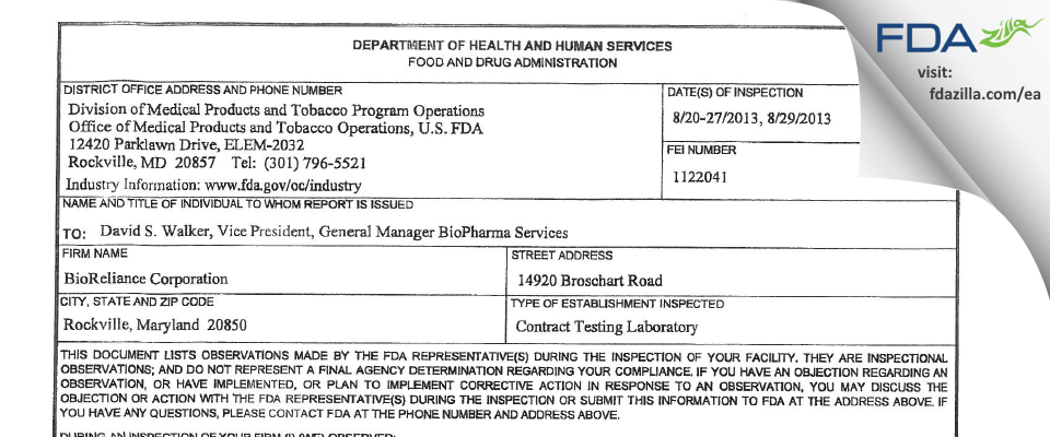 BioReliance FDA inspection 483 Aug 2013