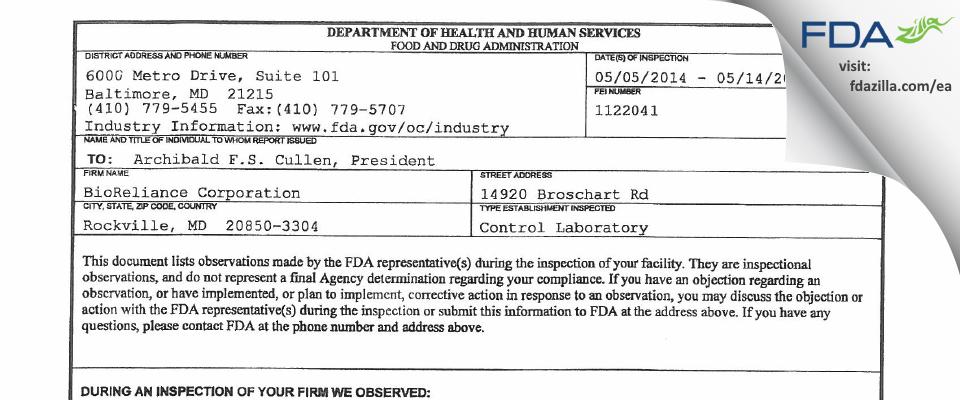 BioReliance FDA inspection 483 May 2014