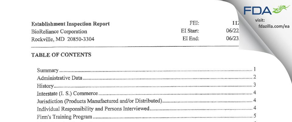 BioReliance FDA inspection 483 Jun 2015