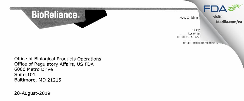 BioReliance FDA inspection 483 Aug 2019