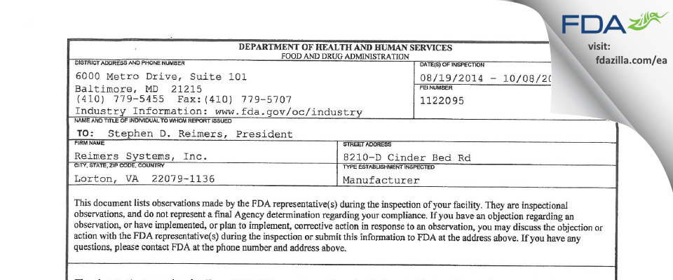 Reimers Systems FDA inspection 483 Oct 2014