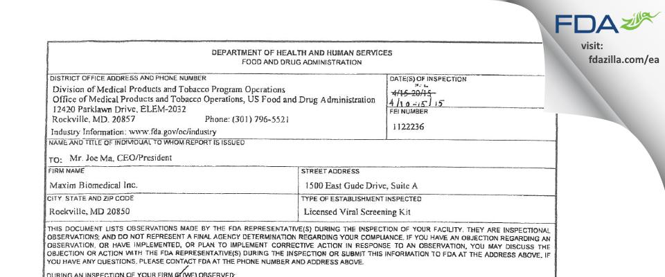 Maxim Biomedical FDA inspection 483 Apr 2015