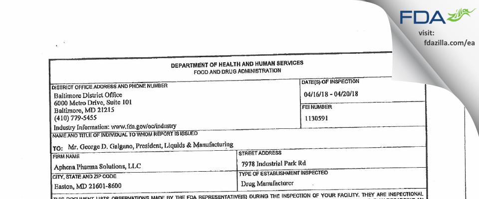 Aphena Pharma Solutions-Maryland FDA inspection 483 Apr 2018