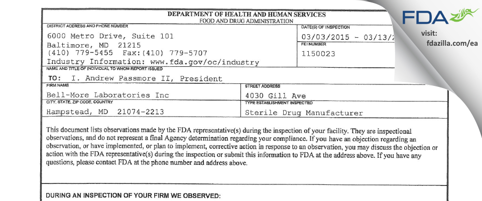 Bell-More Labs FDA inspection 483 Mar 2015