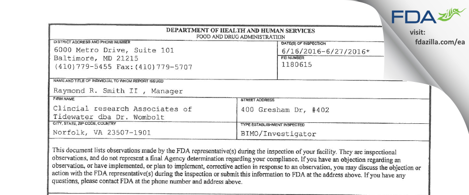 Clincial research Associates of Tidewater dba Dr. Wombolt FDA inspection 483 Jun 2016