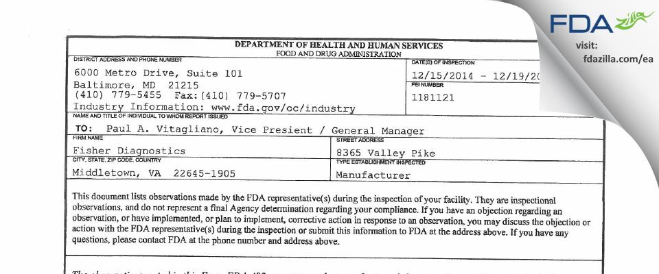 Fisher Diagnostics FDA inspection 483 Dec 2014
