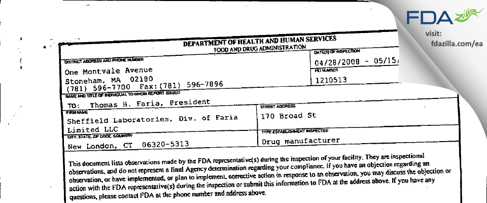 Sheffield Pharmaceuticals FDA inspection 483 May 2008