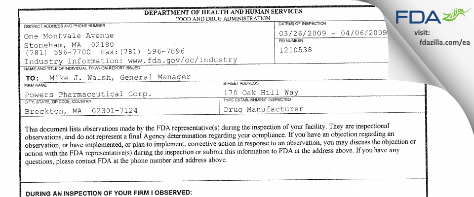 First Boston Pharma FDA inspection 483 Apr 2009