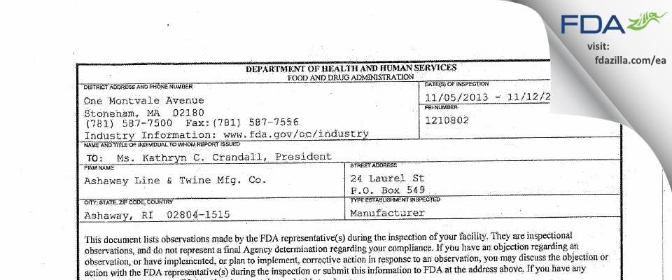 Ashaway Line & Twine Mfg. FDA inspection 483 Nov 2013
