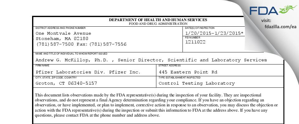 Pfizer FDA inspection 483 Jan 2015