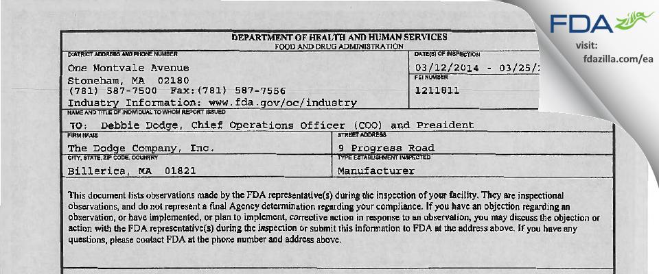 The Dodge Company FDA inspection 483 Mar 2014