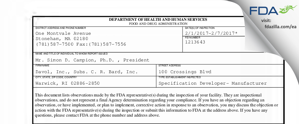 Davol, Subs. C. R. Bard FDA inspection 483 Feb 2017