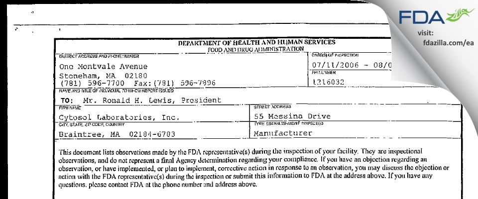 Citra Labs dba Zimmer Biomet FDA inspection 483 Aug 2006