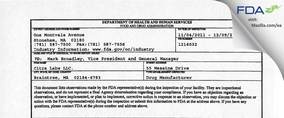 Citra Labs dba Zimmer Biomet FDA inspection 483 Dec 2011