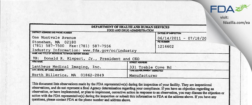 Lantheus Medical Imaging FDA inspection 483 Jul 2011