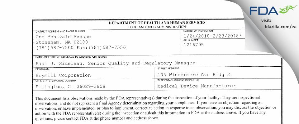 Brymill FDA inspection 483 Feb 2018