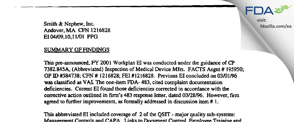 Smith & Nephew, Endoscopy Div. FDA inspection 483 Apr 2001