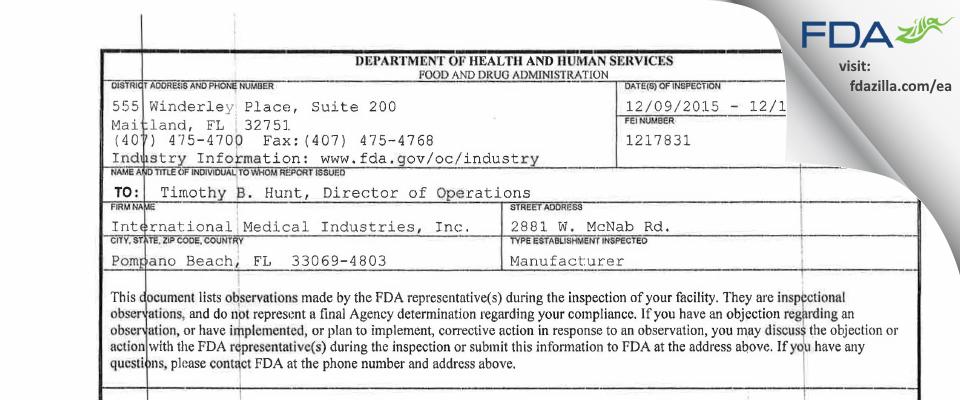 International Medical Industries FDA inspection 483 Dec 2015
