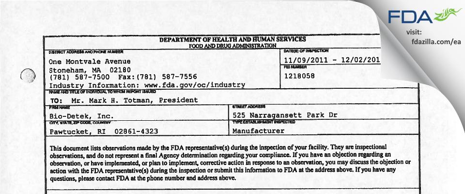 Bio-Detek FDA inspection 483 Dec 2011