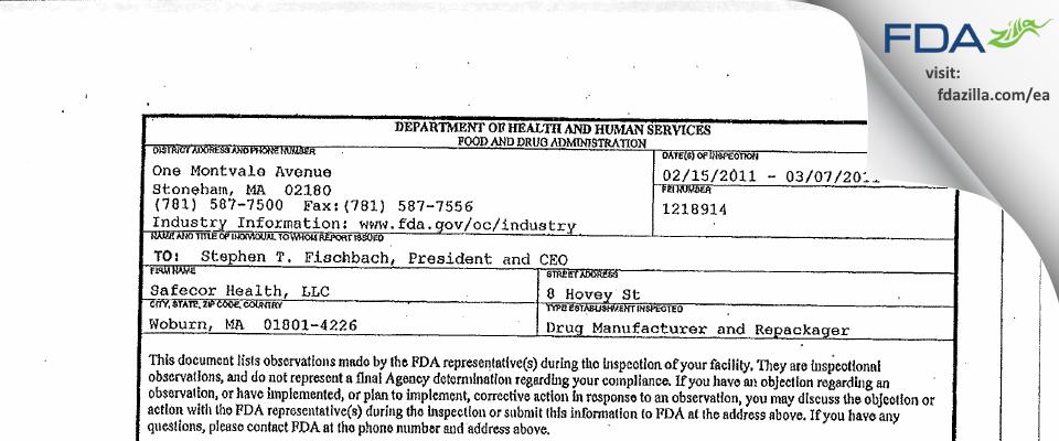 Safecor Health FDA inspection 483 Mar 2011