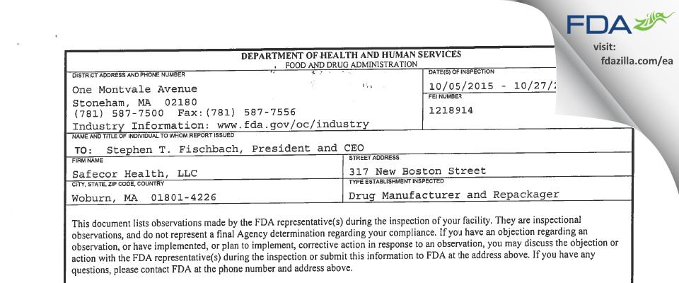 Safecor Health FDA inspection 483 Oct 2015