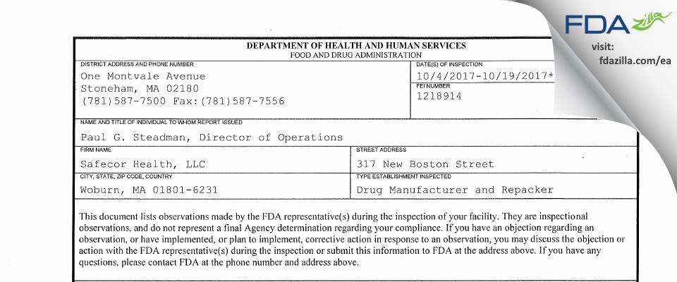 Safecor Health FDA inspection 483 Oct 2017