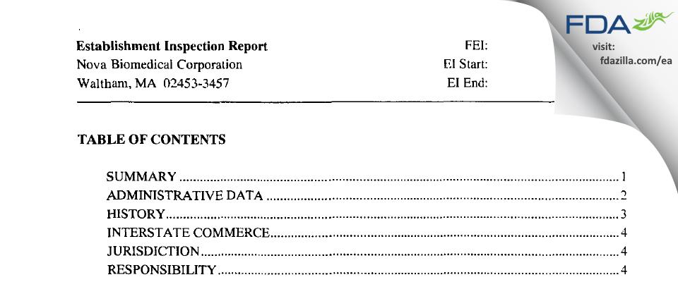 Nova Biomedical FDA inspection 483 Dec 2003