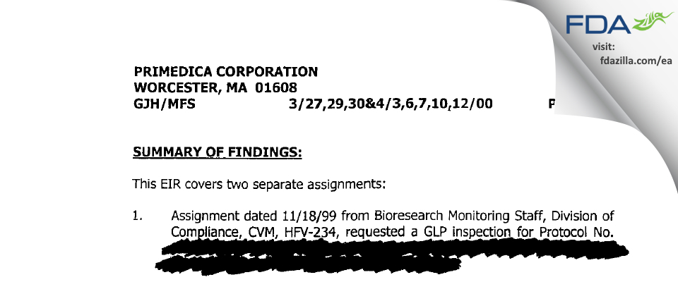 Charles River Labs Preclinical Services FDA inspection 483 Apr 2000