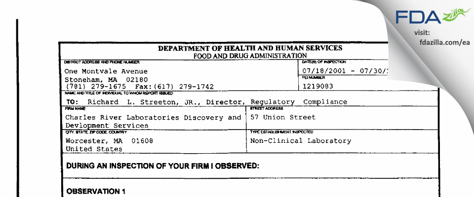 Charles River Labs Preclinical Services FDA inspection 483 Jul 2001