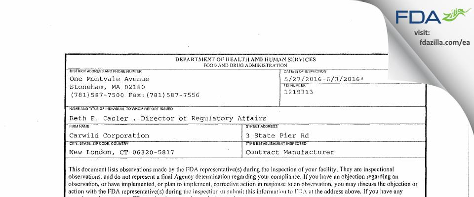 Carwild FDA inspection 483 Jun 2016
