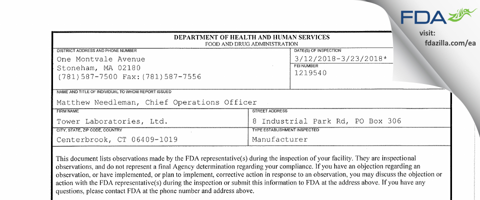 Tower Labs FDA inspection 483 Mar 2018