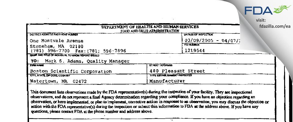 Boston Scientific FDA inspection 483 Apr 2005