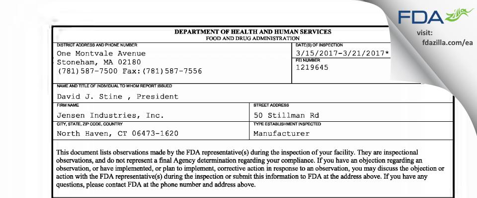 Jensen Industries FDA inspection 483 Mar 2017