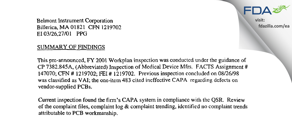 Belmont Instrument FDA inspection 483 Mar 2001