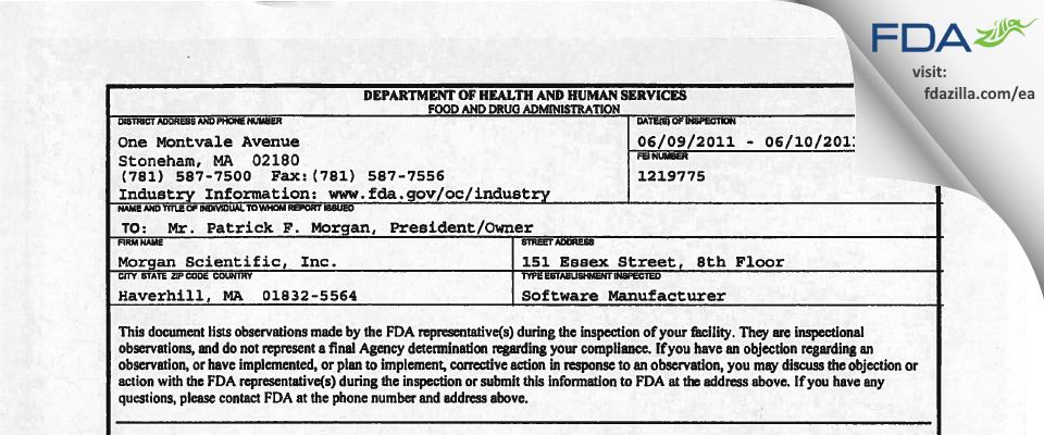 Morgan Scientific FDA inspection 483 Jun 2011