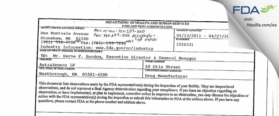 AstraZeneca LP FDA inspection 483 Apr 2011