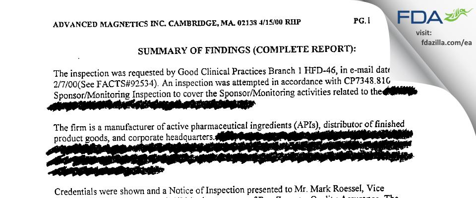 AMAG Pharmaceuticals FDA inspection 483 Apr 2000