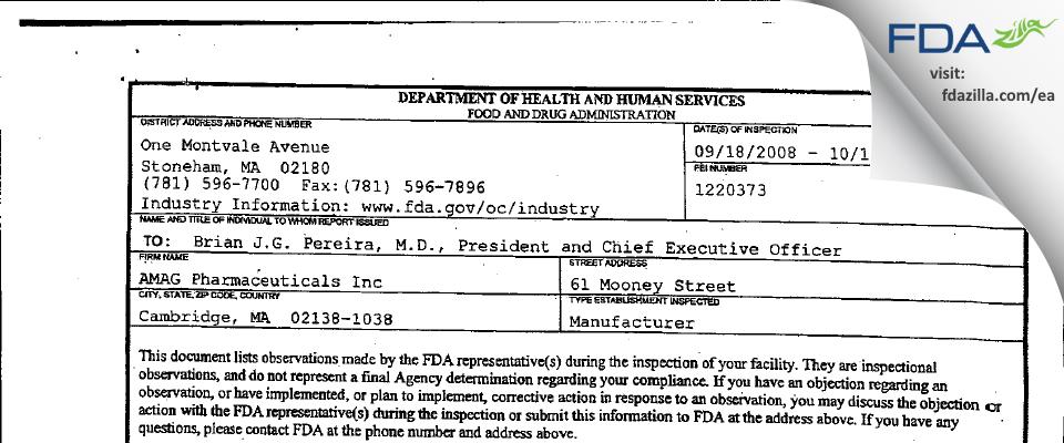 AMAG Pharmaceuticals FDA inspection 483 Oct 2008