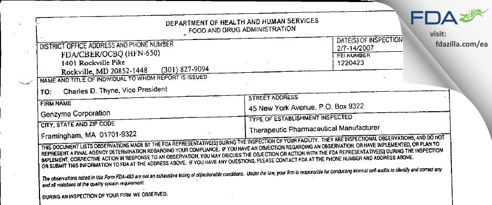 Genzyme FDA inspection 483 Feb 2007