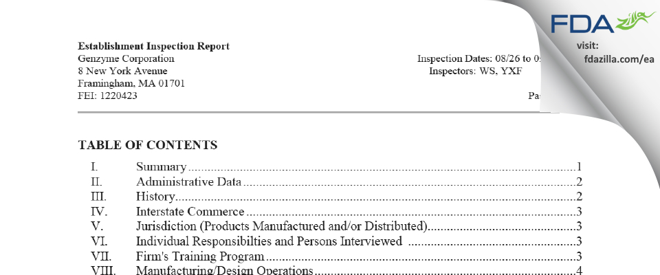 Genzyme FDA inspection 483 Sep 2020