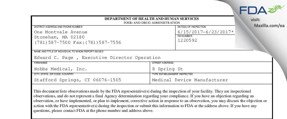 Hobbs Medical FDA inspection 483 Jun 2017