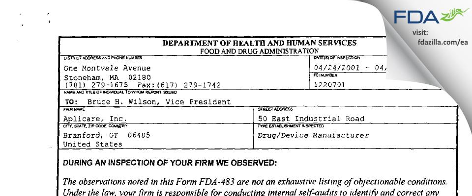 Aplicare FDA inspection 483 Apr 2001