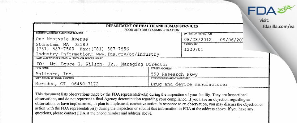Aplicare FDA inspection 483 Sep 2012