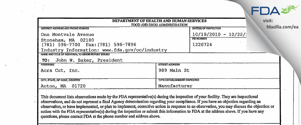 Acra Cut FDA inspection 483 Oct 2010