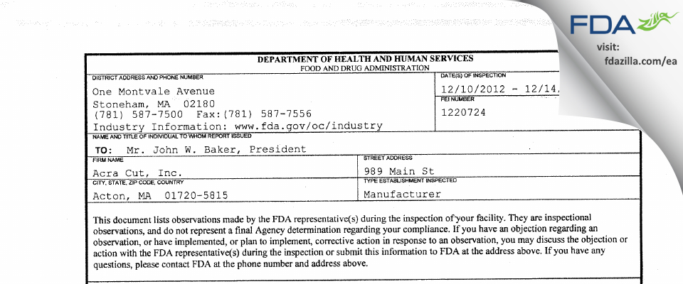 Acra Cut FDA inspection 483 Dec 2012