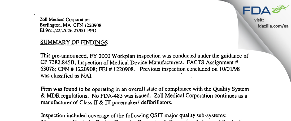 ZOLL Medical FDA inspection 483 Sep 2000