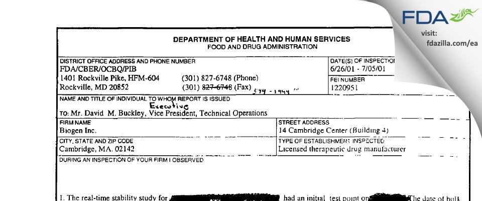 Biogen FDA inspection 483 Jul 2001