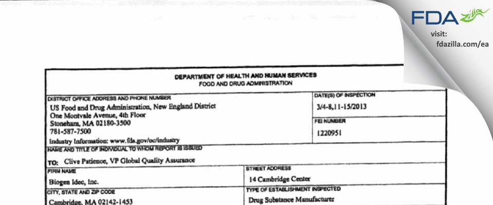 Biogen FDA inspection 483 Mar 2013